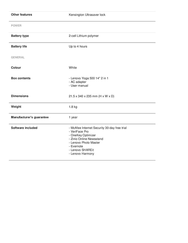 Lenovo Yoga 500 14 2 en 1 - White: Amazon.es: Oficina y ...
