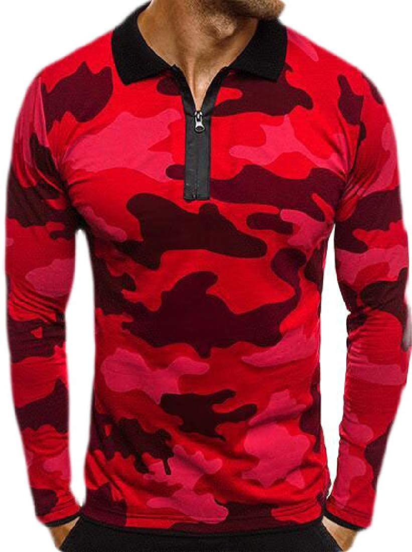 Keaac Mens Camouflage T Shirts Long Sleeve Lapel T Shirt Tops Blouse