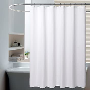 Superbe Water Repellent Fabric Shower Curtain Or Liner, White 71X72 Inches,  Washable Bathroom Shower