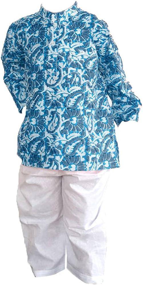 Flawnt Leheria Printed Traditional Cotton Kurta and Pajama Set for toddler boys