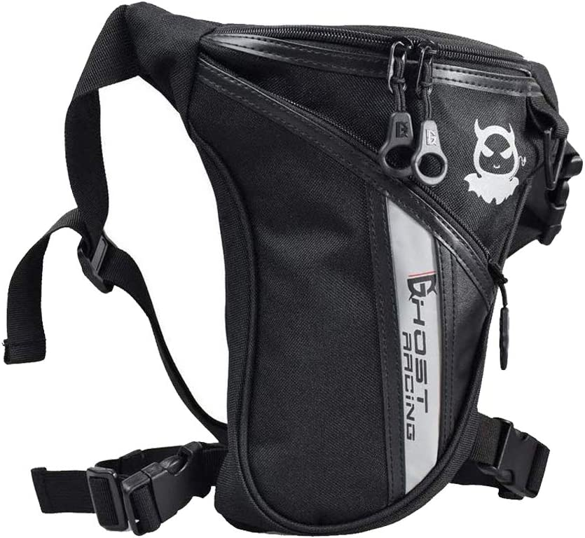 This is an image of a black outdoor leg bag with diagonal zipper on front