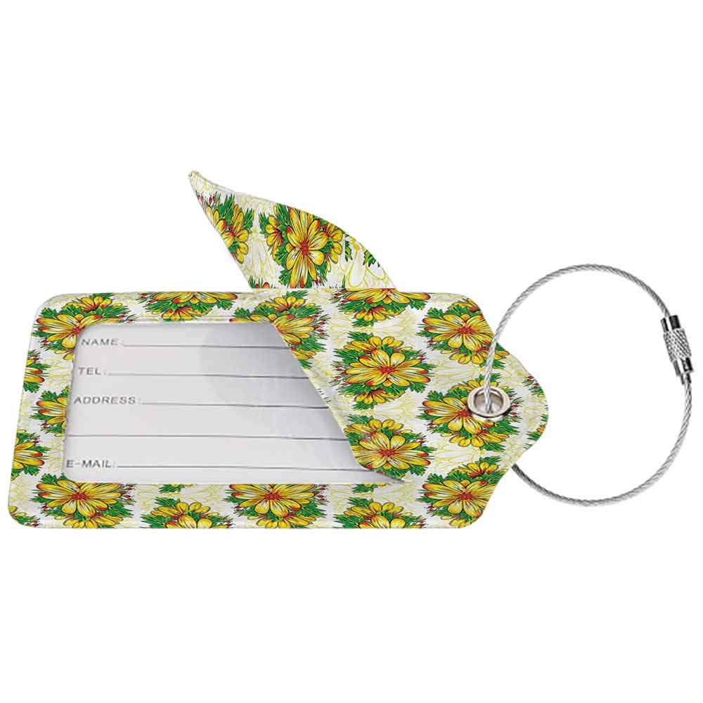 Personalized luggage tag Garden Vibrant Spring Flower Daisy Petals Florets Buds Blossom Summer Design Easy to carry Earth Yellow Hunter Green W2.7 x L4.6