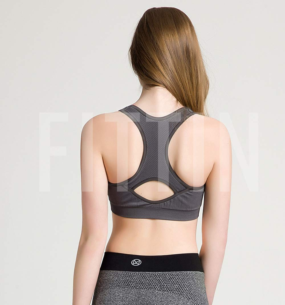 FITTIN Womens Padded Sports Bras Wire Free with Removable Pads Plus Grey Plus 2X by FITTIN