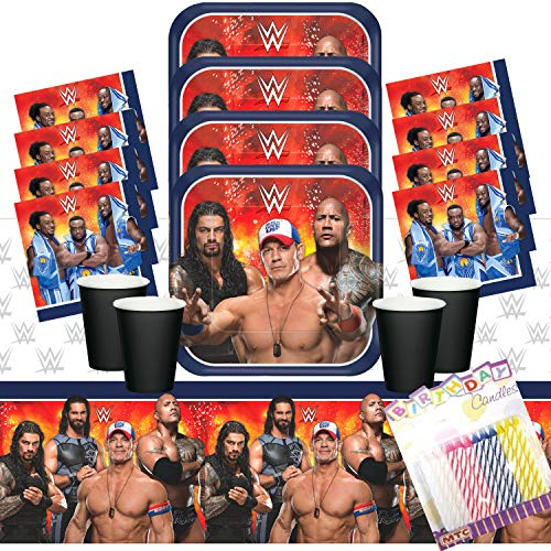WWE Wrestling Party Plates Napkins Cups and Table Cover Serves 16 with Birthday Candles - WWE Party Supplies Pack (Bundle for 16)