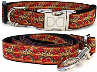 "product image for Diva-Dog 'Bombay' Custom Medium & Large Dog 1"" Wide Dog Collar with Plain or Engraved Buckle, Matching Leash Available - M/L, XL"