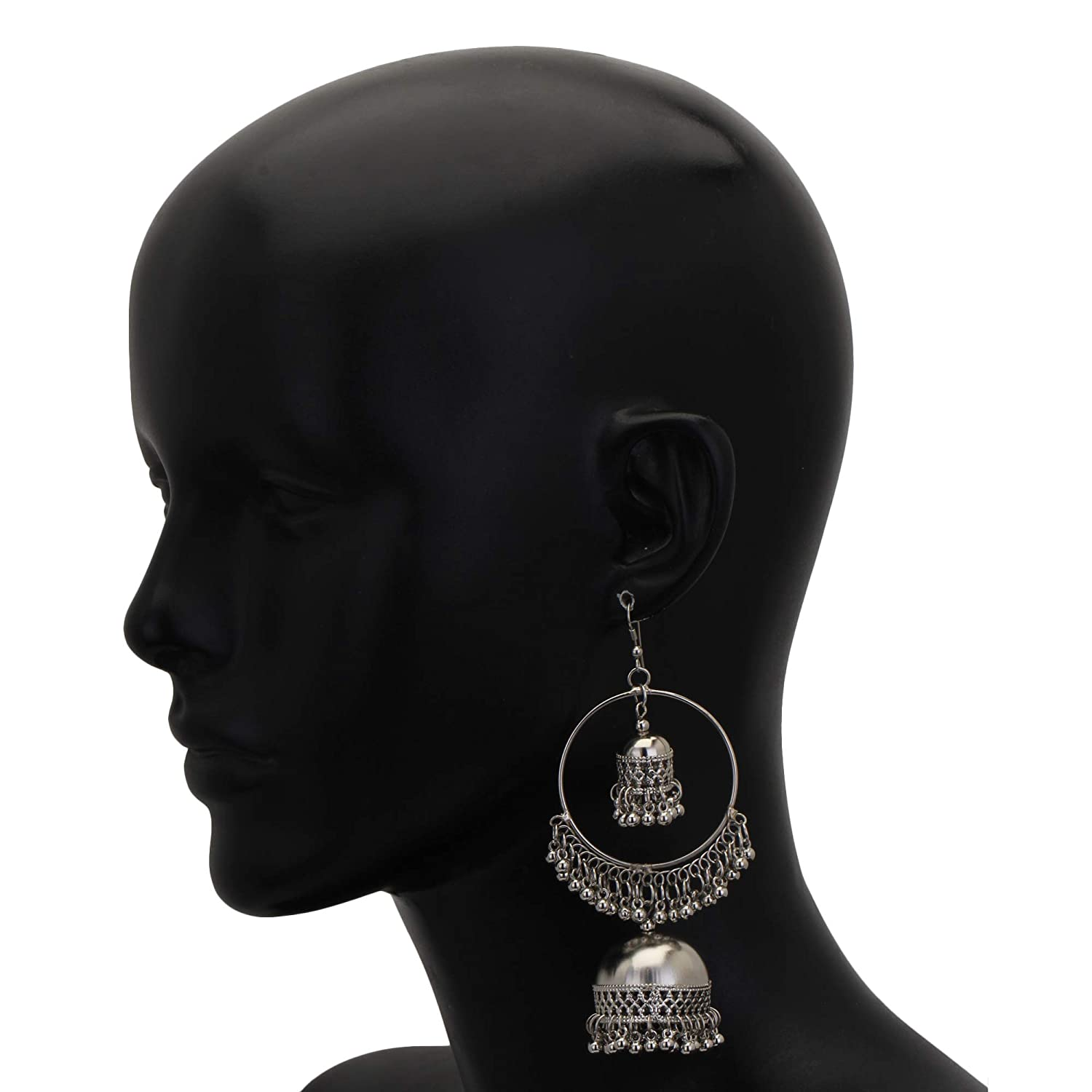 ZIKU JEWELRY AFGANI Bohemian Tribal Oxidized Silver Ethnic Dangle Drop Hook Earring for Women /& Girls