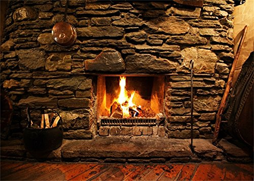 - Leowefowa Vinyl 7X5FT Fireplace Backdrop Interior Vintage Rock Stones Brick Wall Firewoods Peeled Stripes Wood Floor Interior Photography Background Kids Adults Photo Studio Props