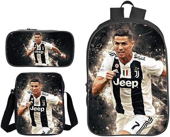 School Bag Mochila Escuela 3D Cristiano Ronaldo Patrón De Mochila Grande con Estampado De Fresco para Adolescentes(Mochila + Bolsa De Lápices + Cartera) Juventus 3: Amazon.es: Hogar