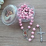 WE Baby Girl Baptism Rose Petal Scented Pink Rosary Favor - 12 PCS Wood Rosaries with Individual...