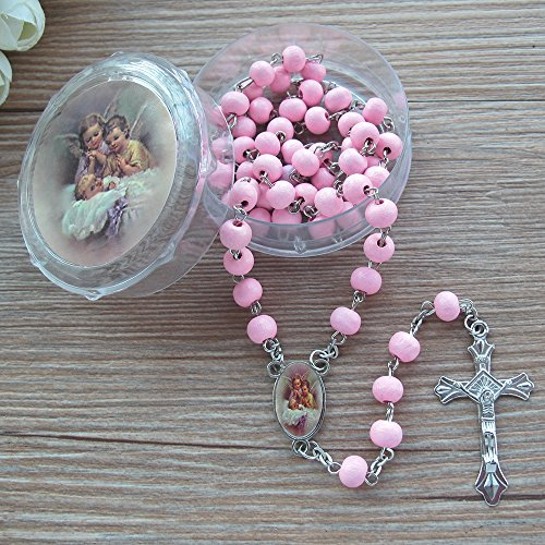 WE Baby Girl Baptism Rose Petal Scented Pink Rosary Favor - 12 PCS Wood Rosaries with Individual Gift Box and Bags/ Recuerdos de mi Bautizo
