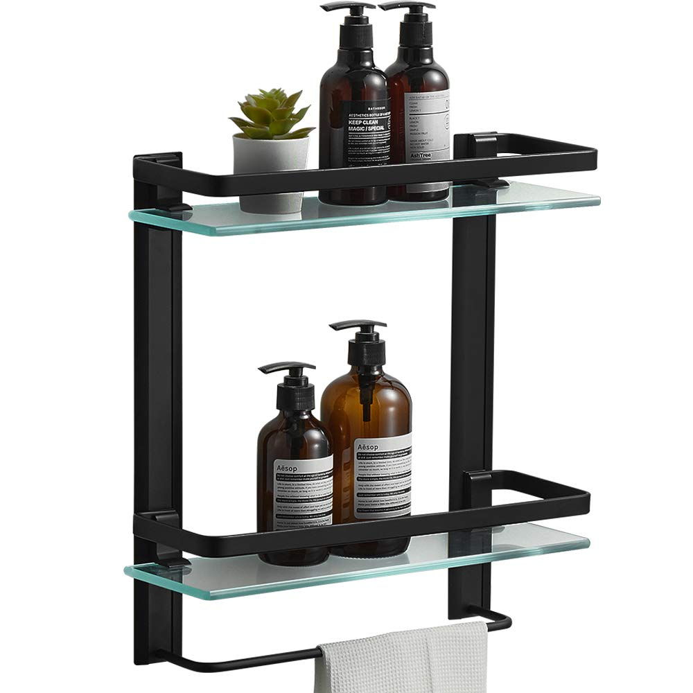 Shower Storage 15 by 5 inches BESy Heavy Duty Lavatory Glass Bathroom Shelf 2 Tier Tempered Glass Shower Shelves with Towel Bar Wall Mounted Matte Black Finish//Aluminum