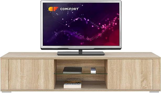 COMIFORT Mueble de TV - Mesa de Salón Moderno, Puerta con Sistema Click, Estante de Cristal Templado, Muy Resistente, Fabricado en Europa, Color Roble ...