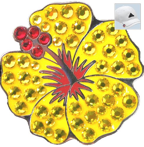 Bella Crystal Golf Ball Marker & Hat Clip - Flowers Collection - Yellow Hibiscus