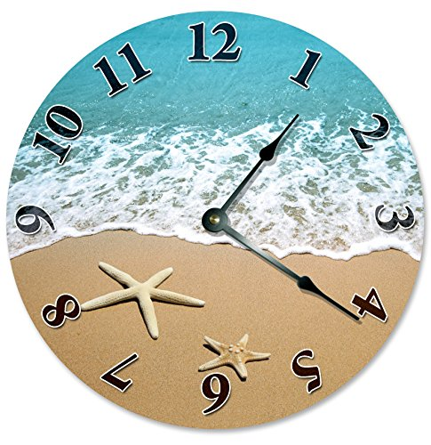STARFISH-AT-SHORELINE-Beach-Clock-Large-105-Wall-Clock-Decorative-Round-Circle-Clock-Home-Decor-Novelty-Clock-SHELLS-SAND-BEACH-HOUSE