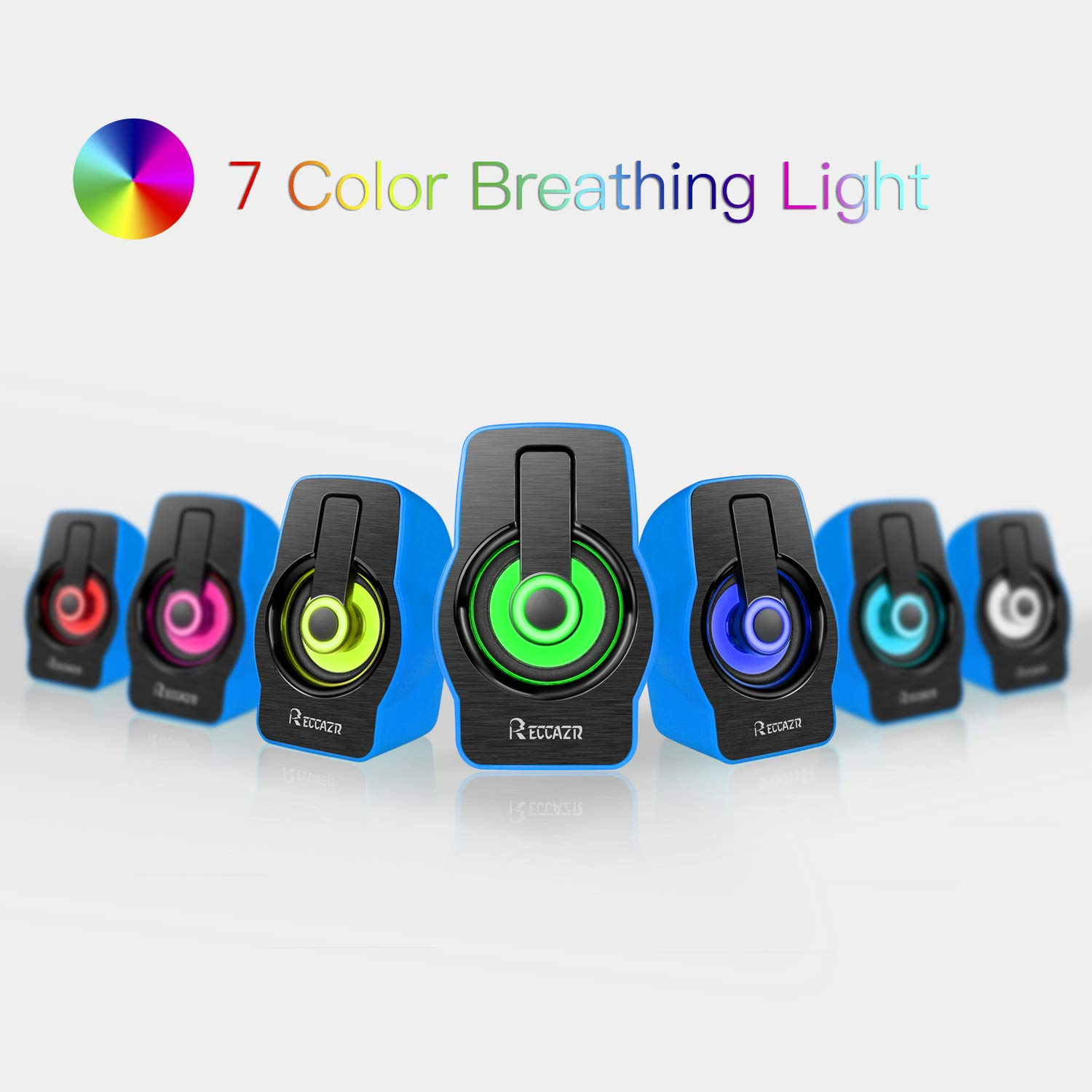 USB Powered Computer Speakers, Reccazr SP2070 Multimedia Stereo Sound Speakers with 7 Colors Breathing Lighting for PC(with3.5mm AUX and PC Input)-Blue
