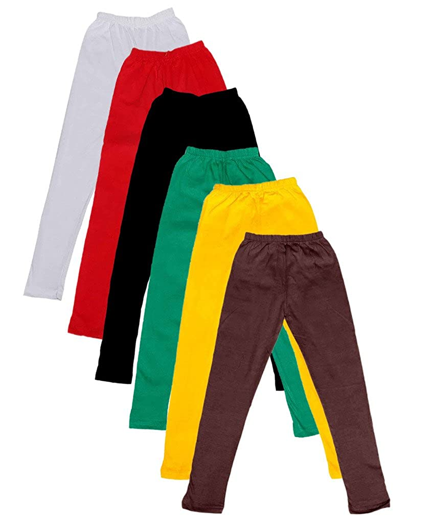 Pack of 6 -Multiple Colors-15-16 Years Indistar Big Girls Cotton Full Ankle Length Solid Leggings