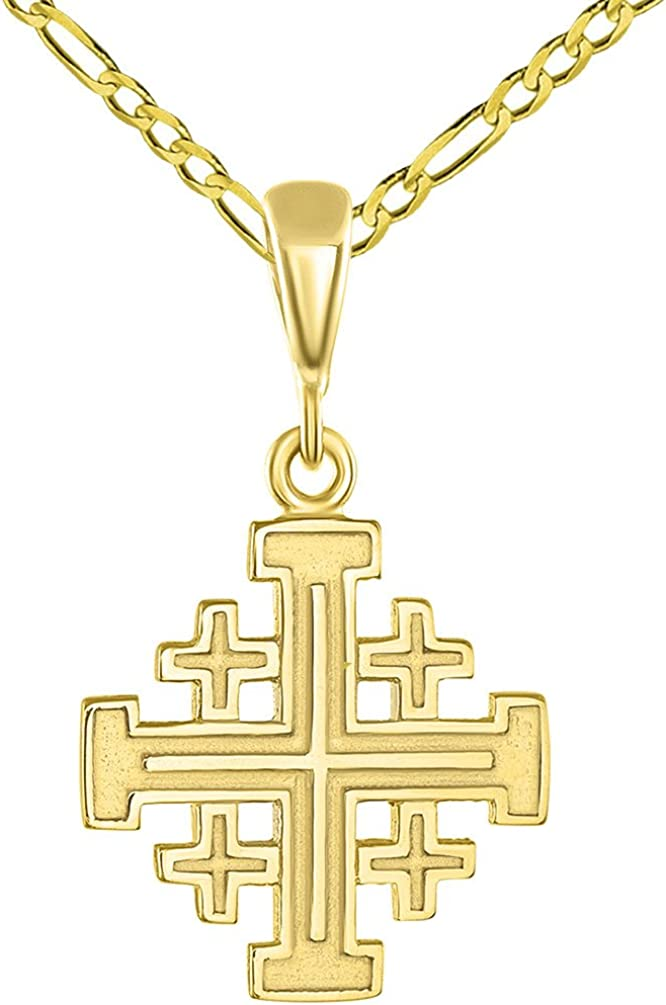 Solid 14k Yellow Gold Cross Heartbeat Heart Faith Hope and Love Silhouette Pendant with Figaro Necklace