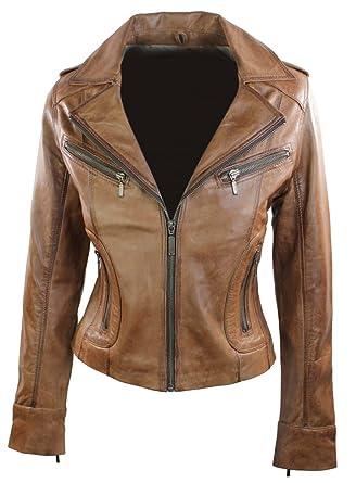 Ladies Womens Short Biker Jacket Coat Short Fitted Tan Brown Retro ...
