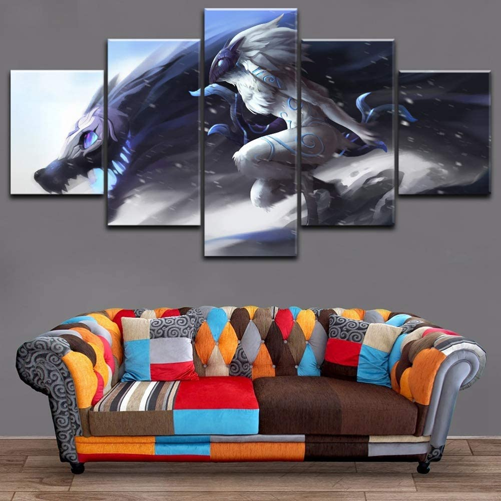 HD Prints on Canvas Wall Art League of Legends Kindred Picture Paintings Game Poster 5 Piece Home Decor Modern Artwork Framed Stretched Ready to Hang,B,25x40x2+25x60x1+25x50x2