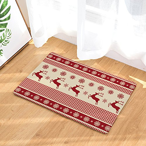 Deer Snowflake Door Mats Rug Non-Skid Slip Rubber Doormats - Rustic Red Buffalo Check Plaid Pattern, 23.6
