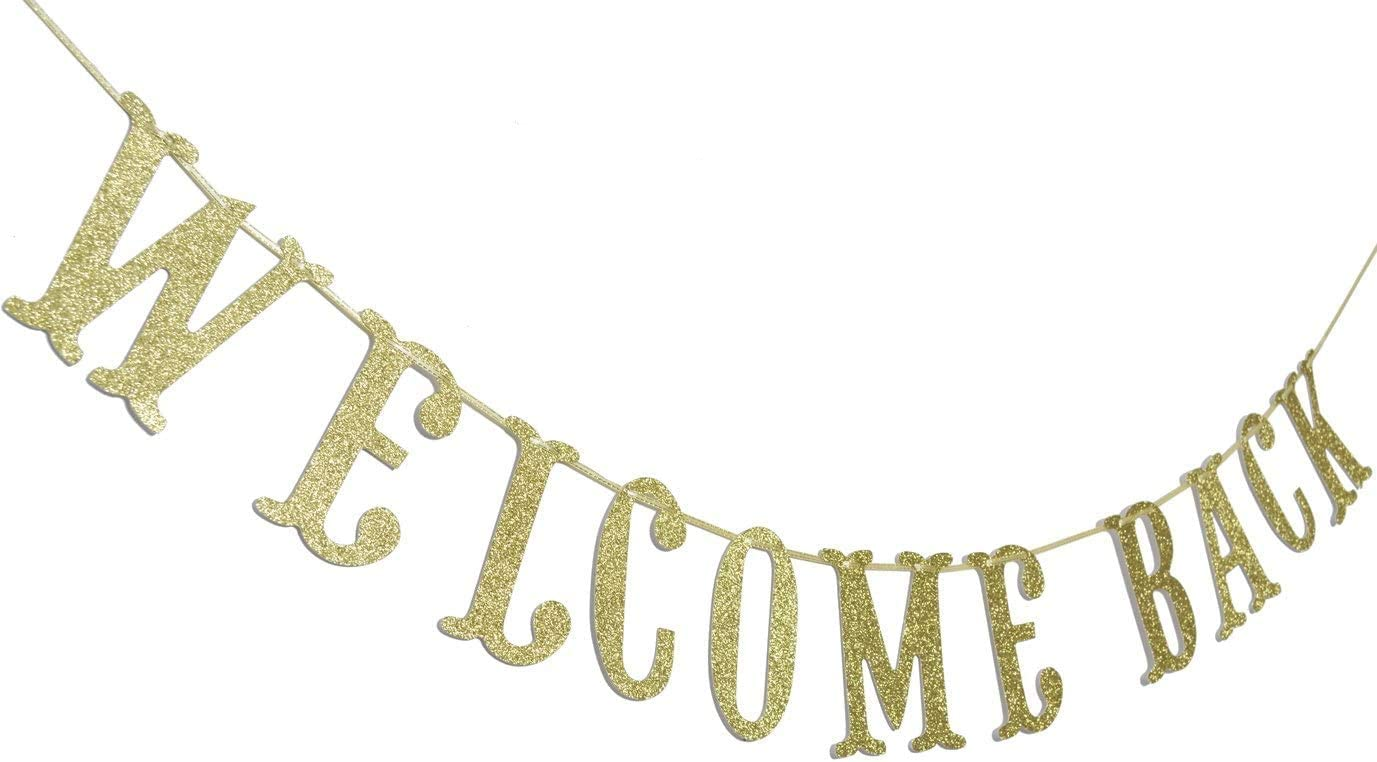 Home Party Decoration Back from Hospital Sign Retiring from The Army Back to School Homecoming Welcome Back Gold Glitter Banner for Welcome Home