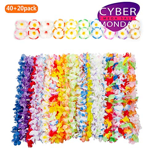Hawaiian Luau Party Supplies-Hawaiian Leis(40Ct) with Hawaiian Flower Hair Clips(20pcs), Perfect for Your Hawaii -