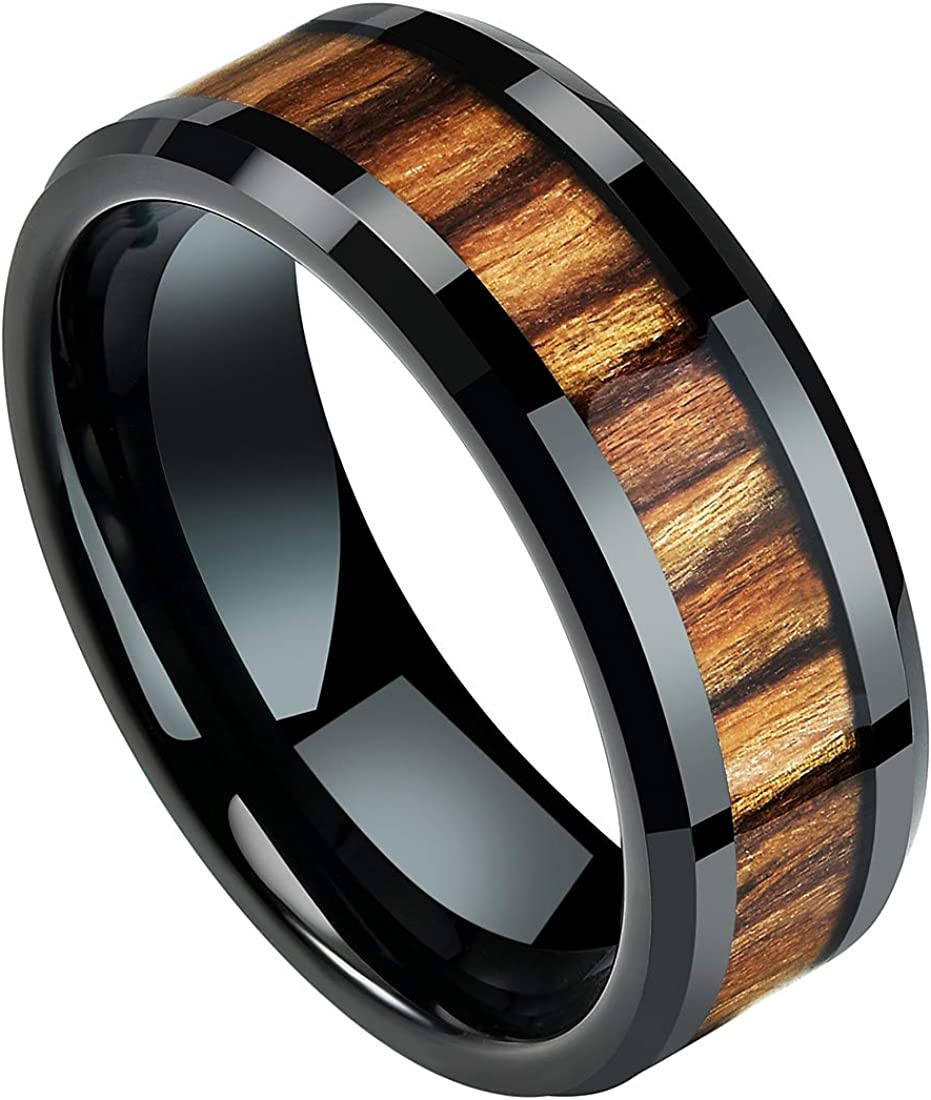 DOUX 8mm Mens Wedding Band Black Tungsten Carbide Ring Real Wood Inlay Wedding Band High Polished