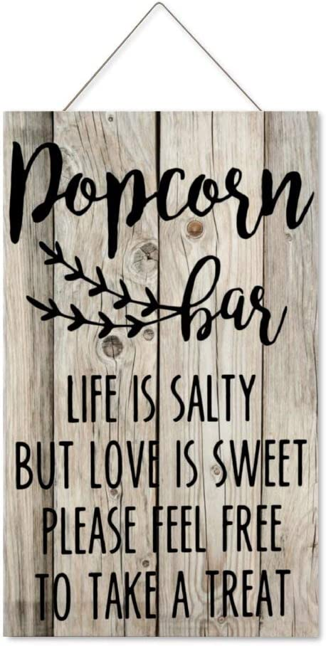 DONL9BAUER Popcorn Bar Love is Sweet Hanging Wood Sign Plaque Wall Decor Sign Wedding Party Present Rustic Wall Art for Living Room Indoor Outdoor