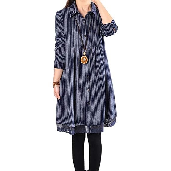 ef503a1b7ba BUYKUD Cotton Shirt Casual Long Sleeve Tops Autumn Shirt Dress for Women  Blue  Amazon.co.uk  Clothing