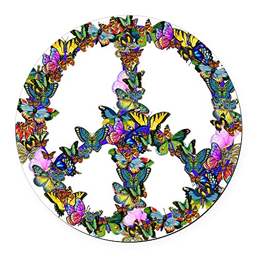 CafePress Butterflies Peace Sign Round Car Magnet, Magnetic Bumper -