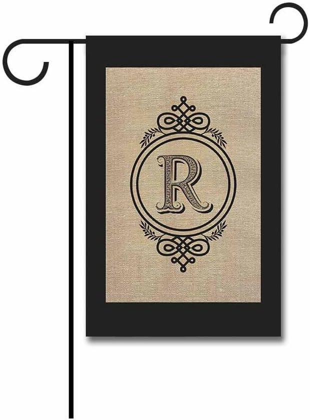 KafePross Alarm Clock Shape Letter Garden Flags Monogram R Yard Banner 12.5X18 Print Both Sides