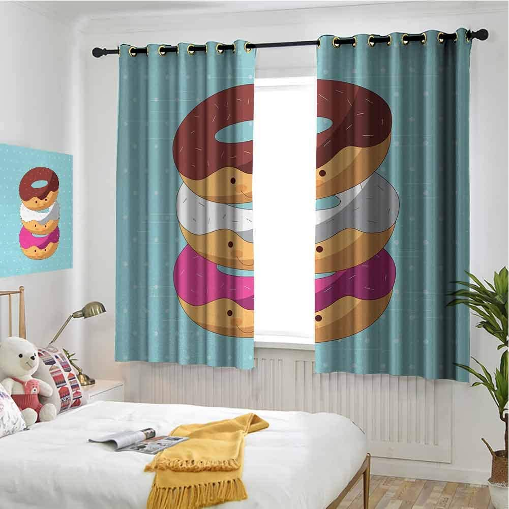 Amazon Com Hengshu Anime Pattern Curtains Blackout Kawaii Cartoon Style Colorful Donuts With Funny And Cute Faces On Blue Background Bedroom Decor Living Room Decor W84 X L72 Inch Multicolor Home Kitchen