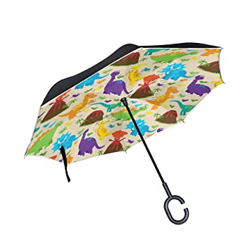 Mnsruu Paraguas invertido Colorido Dinosaurio Doble Capa Plegable Paraguas Resistente al Viento UV Paraguas de Viaje