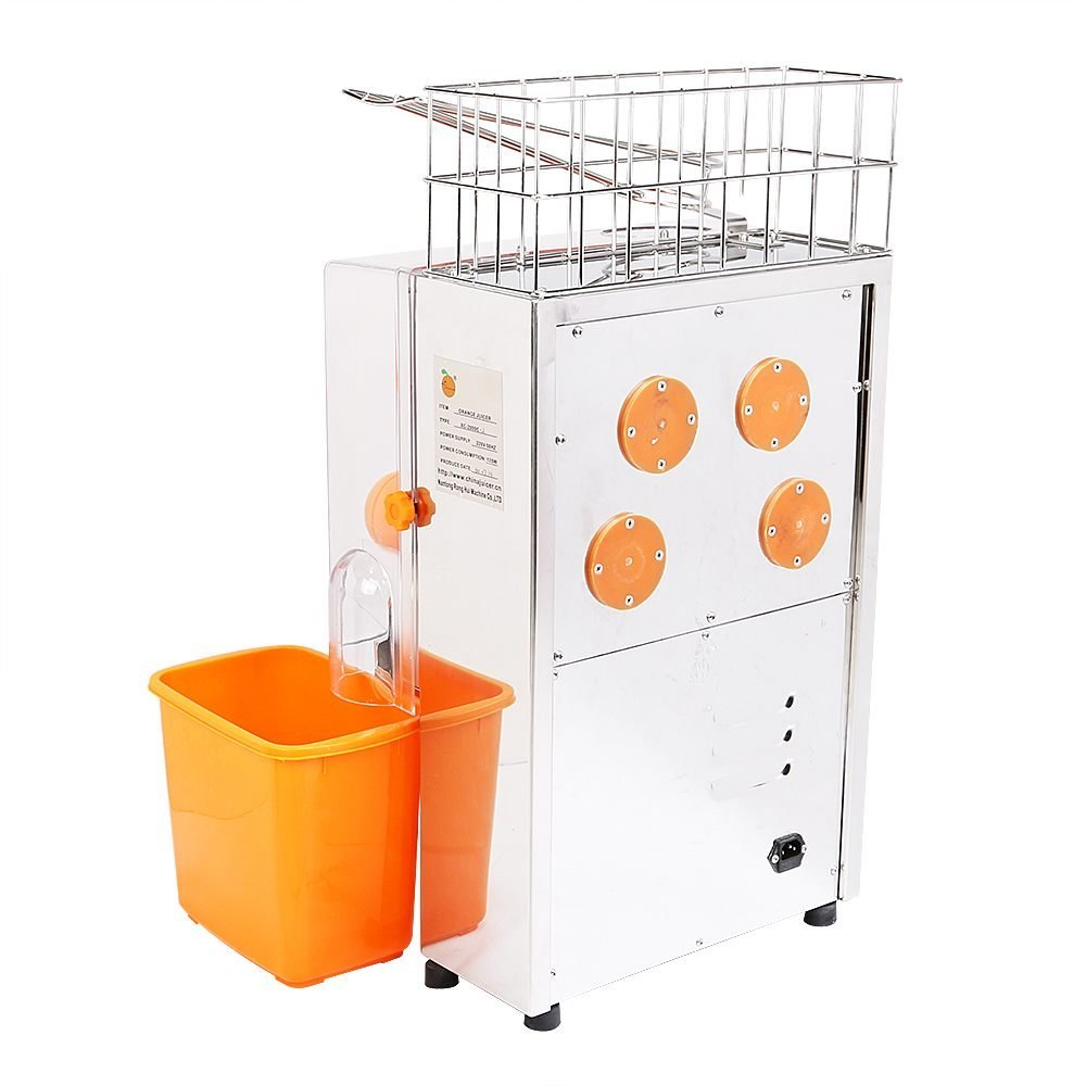 VEVOR Electric Juicer Commercial Orange Squeezer Machine Stainless Steel, 40-80mm/22-30 Per Minute, Plastic Tank+PC Cover