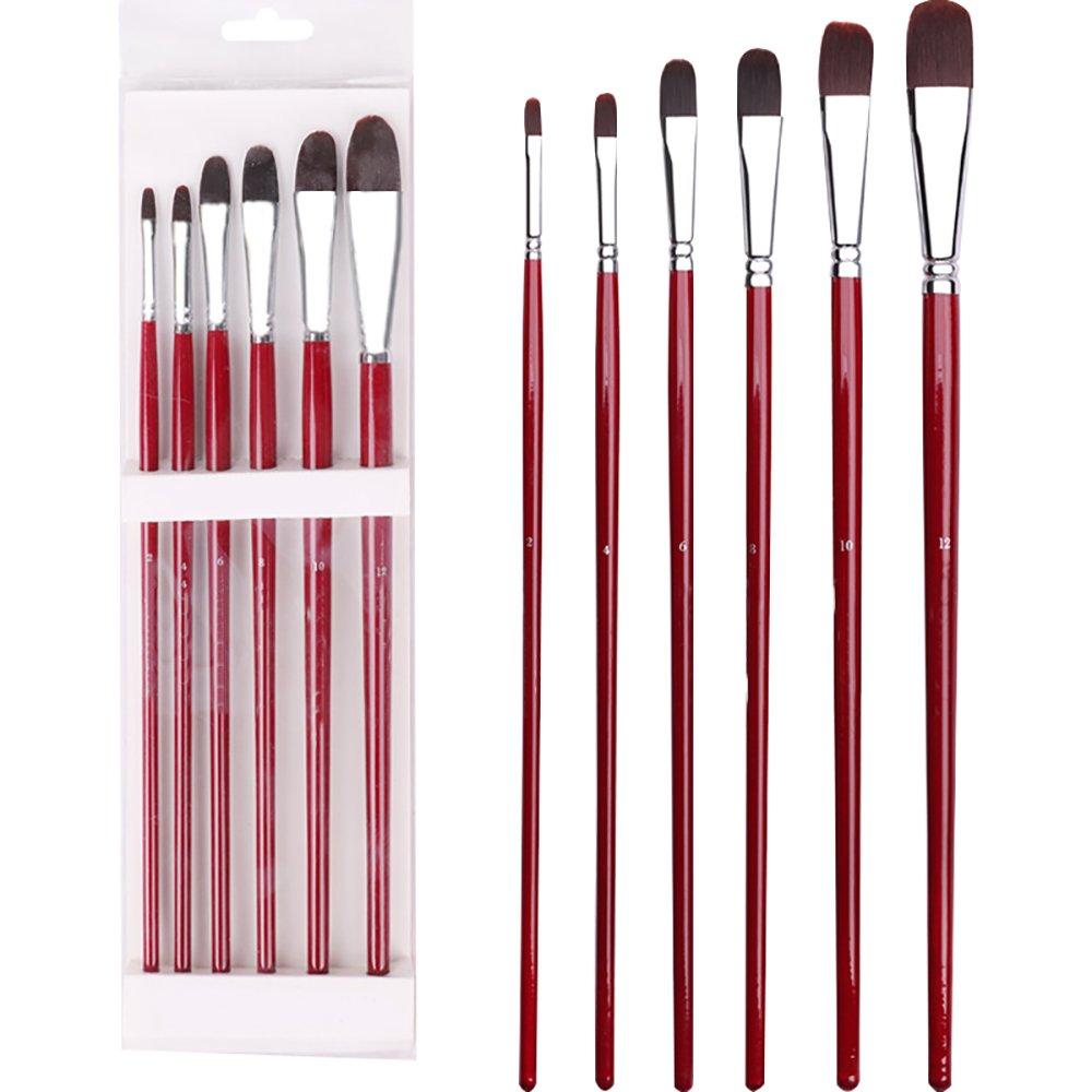 Art set di pennelli 6/pezzi in nylon artisti pittura forniture Filbert pennelli per arte acrilica pittura ad olio con manico in legno rosso