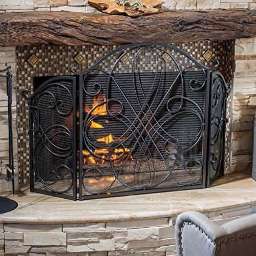 Rosalinda Black Silver Finish Floral Iron Fireplace Screen