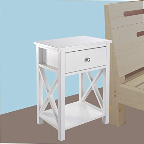 Cozylifeunion Wooden Night Stand/ Bedside Table With Drawer Nightstand Side End  Table Bedroom Stand Accent