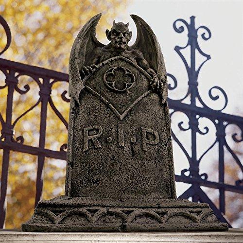 Design Toscano DB160282 The Vampire Demon Halloween Tombstone Gothic Decor Garden Graveyard Statue, 22 Inch, Greystone