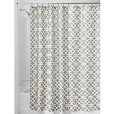 InterDesign Trellis Fabric Shower Curtain - 72  x 72 , White/Stone Gray