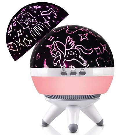 Lámpara de proyector de unicornio y estrella, forma de globo, luz nocturna giratoria