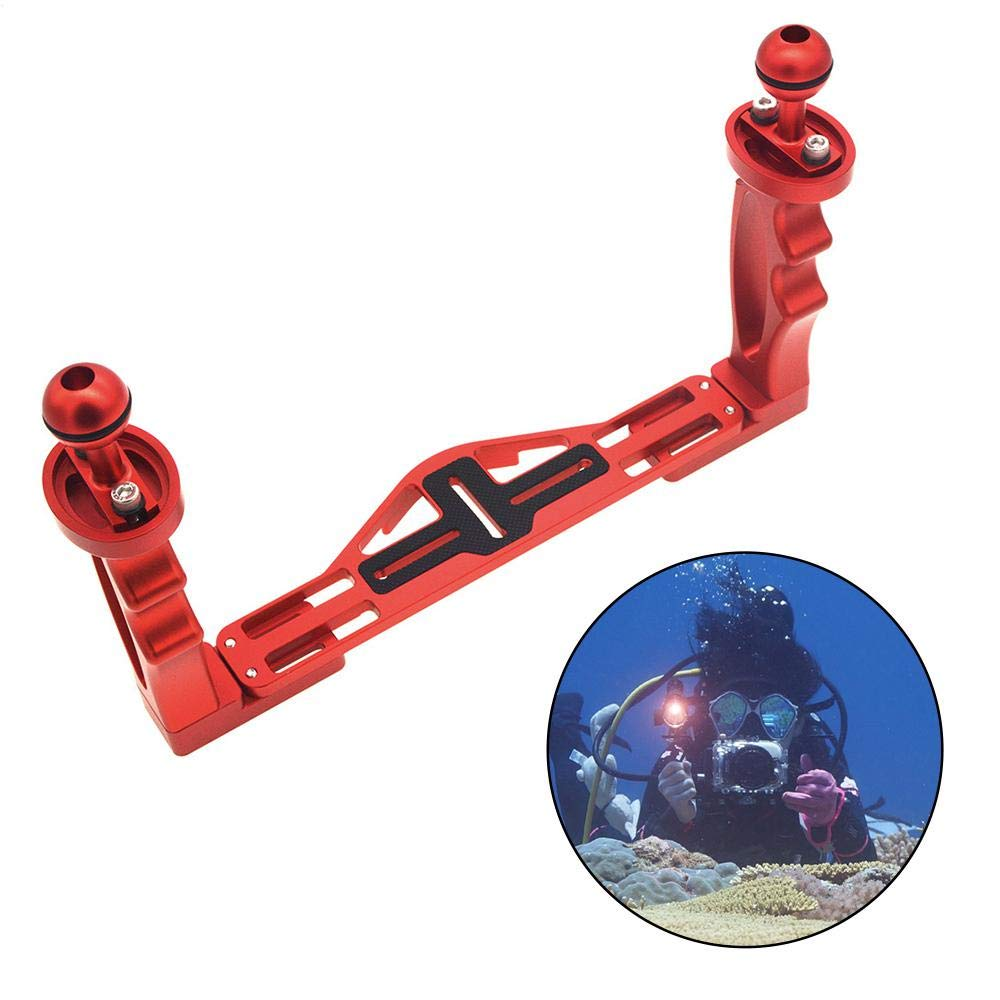 FOONEE Camera Tray, Aluminum Underwater Tray, Video Stabilizer Tray, for GoPro/Phone/Video/Strobe Light, Light Weight & Durable, with 2 Ball Bracket(Red)