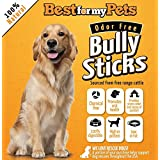 Best For My Pets 12-Inch Bully Sticks Odor-Free All Natural Dog Treats Fresh Long Lasting Chews by, 8-Ounce Bag
