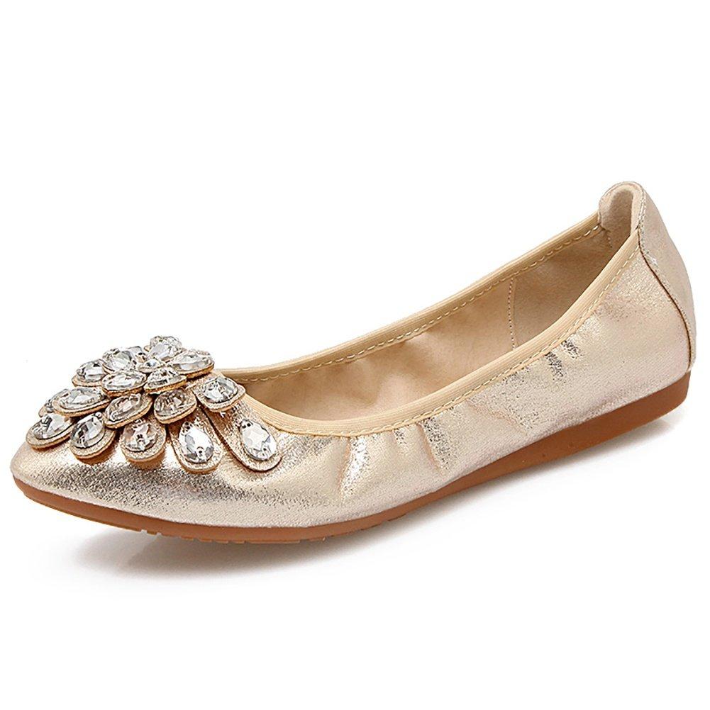 Meeshine Womens Foldable Soft Pointed Toe Ballet Flats Rhinestone Comfort Slip on Flat Shoes(8 B(M) US,Gold 01)