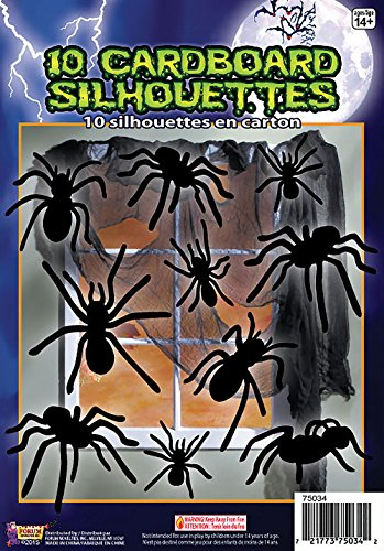 Forum Novelties 10 Piece Silhouette Shadow Spiders, Black -