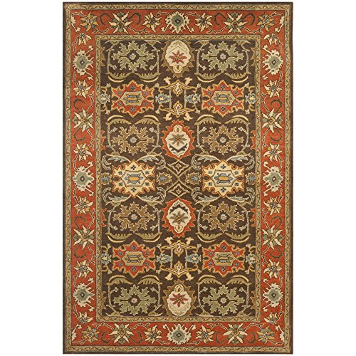 Safavieh Heritage Collection HG734B Handcrafted Traditional Oriental Chocolate and Tangerine Wool Area Rug (4' x 6') ()