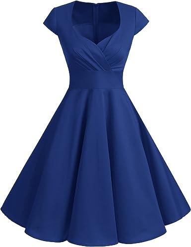 TALLA XL. Bbonlinedress Vestido Corto Mujer Retro Años 50 Vintage Escote Royal Blue XL