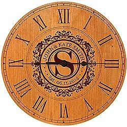 Wedding Clock or Anniversary Clock Personalized Wedding Gift Anniversary Gift Housewarming Gift  Monogram Initial Clock (Cherry)