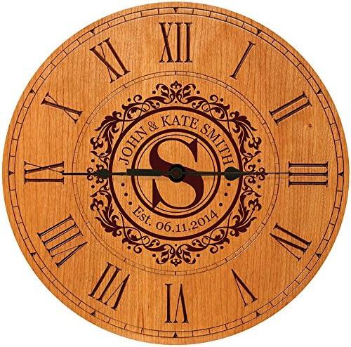 LifeSong Milestones Wedding Clock or Anniversary Clock Personalized Wedding Gift Housewarming Gift Monogram Initial Clock Cherry
