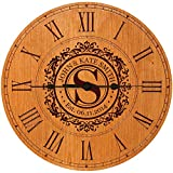 "Wedding Clock or Anniversary Clock Personalized Wedding Gift Anniversary Gift Housewarming Gift "" Monogram Initial Clock (Cherry)"