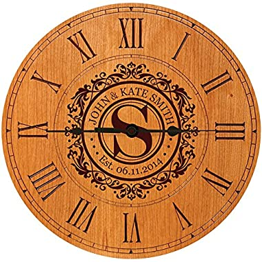 Wedding Clock or Anniversary Clock Personalized Wedding Gift Anniversary Gift Housewarming Gift   Monogram Initial Clock (Cherry)